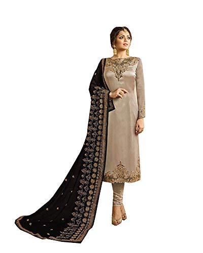 Indian/Pakistani Ethnic wear Silk Embroidered Salwar Kameez Indian Dress Ready to Wear Salwar Suit (Grey, XXL-46)