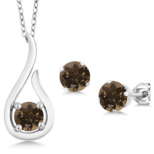 1.38 Ct Brown Smoky Quartz 925 Sterling Silver Pendant Earrings Set With Chain (Chain Smoky Quartz Ring)