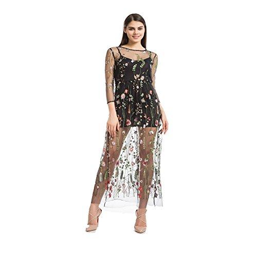 Black Floral Embroidered Mesh Maxi Dress,Women Silk Dress Skirt