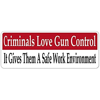 Criminals love gun control pro gun vinyl decal bumper sticker laptop sticker 3 inches