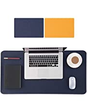 COZY DISCOVERY Large Mouse Pad 90x40cm, Double-Sided Desk Pad, PU Leather Mousepad for Game Work Study, Non-Slip Waterproof Desk Protector Cover, Multifunctional Desk Writing Mat Blotter, Blue-Yellow