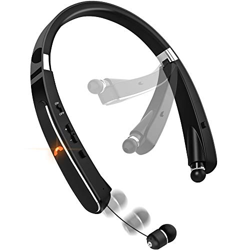 Bluetooth Headphones, Neckband Bluetooth Headset, Dostyle [30 Hours Playtime] Wireless Bluetooth Headphones w/Mic & Retractable Headset Compatible for All Cellphones Samsung Galaxy Android ()