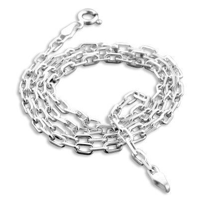 3mm Sterling Silver Anchor Open Box Link Chain Necklace 22""