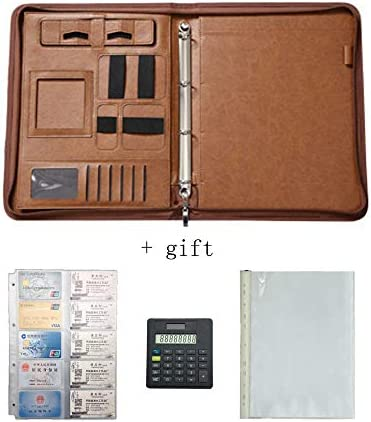 WZJN A4 Multifunktions-Dokumentenmappe Tablet-Hülle, Brieftaschenhalter, Tagebuchhalter und Notizblockhalter mit Reißverschluss, Aufbewahrungstasche Student Office Filing Product,Braun
