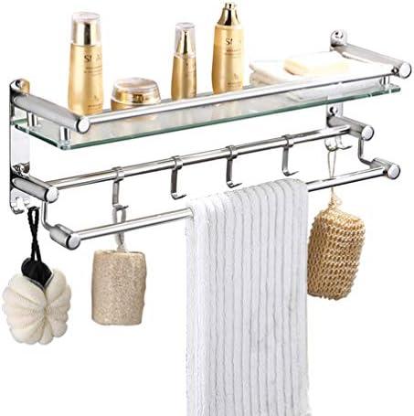 タオルバー壁掛けタオルラックとの厚いガラス浴室のタオル棚23.6インチSUS304ステンレス鋼のタオルはミラー研磨スタンド