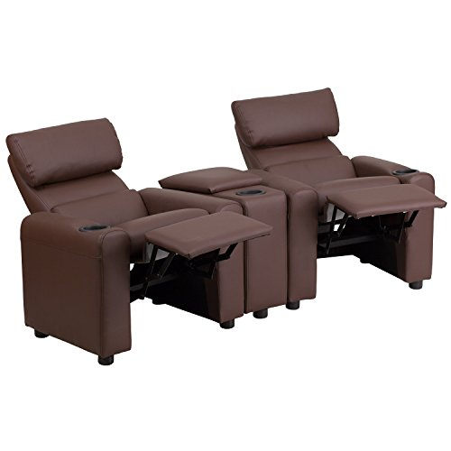 Flash Furniture Kid's Brown Leather Reclining Theater Seating with Storage Console