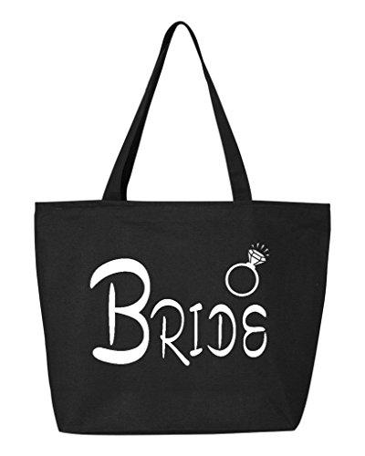Shop4Ever Bride Diamond Ring Heavy Canvas Tote with Zipper Wedding Reusable Shopping Bag 12 oz Black 1 Pack (Bride Zipper)