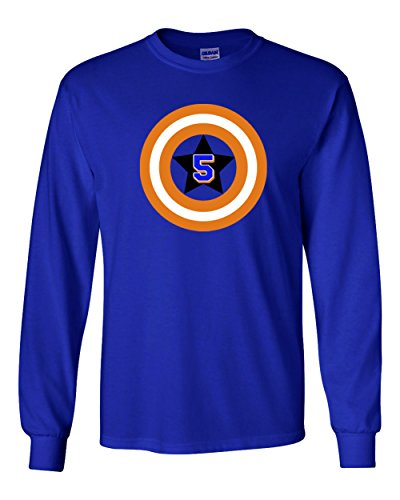 "The Silo LONG SLEEVE BLUE New York David Wright ""Captain America"" T-Shirt ADULT"