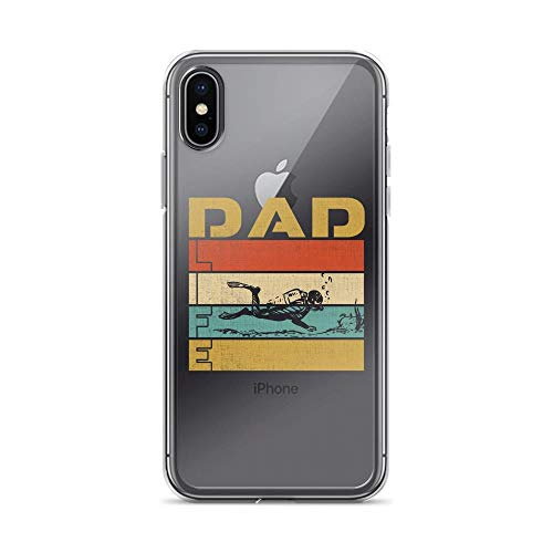 iPhone X/XS Pure Clear Case Cases Cover Best Scuba Diving Dad Ever - Vintage Design TPU Anti-Scratch Full Protective Cover Boot Scuba Gear Computers