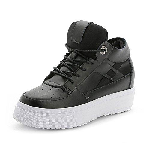 Womens Platform Fashion Sneaker Verhoogde Hoogte Non-slip Lace Up Casual Sport Hardloopschoenen Zwart