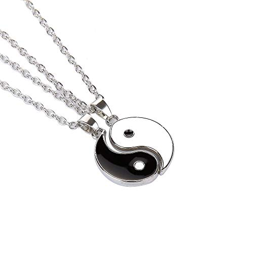 Yinyang BFF Couples Pendant Necklace Chain for Women Mens Personalized Matching Puzzle Diagrams Best Friend Necklaces (Yin Yang Necklaces)
