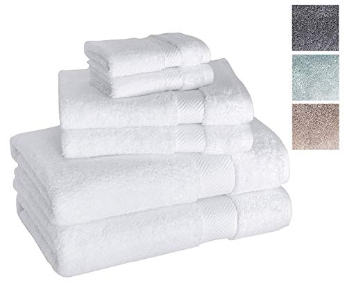 Luxury 6-Piece Hotel and Spa Towel Set - Soft and Thick Bath Towels with Unique Ribbed Design - Made with 100% Turkish Cotton
