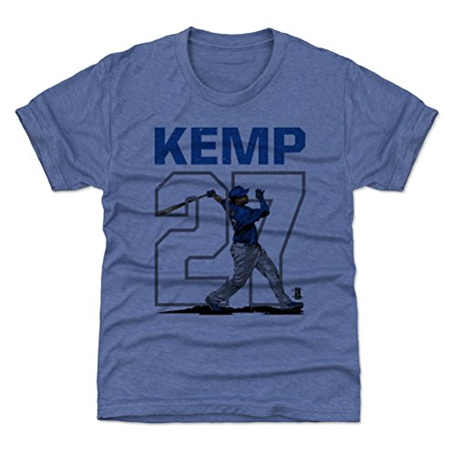 500 LEVEL Los Angeles Baseball Youth Shirt - Kids X-Large (14-16Y) Tri Royal - Matt Kemp Outline B