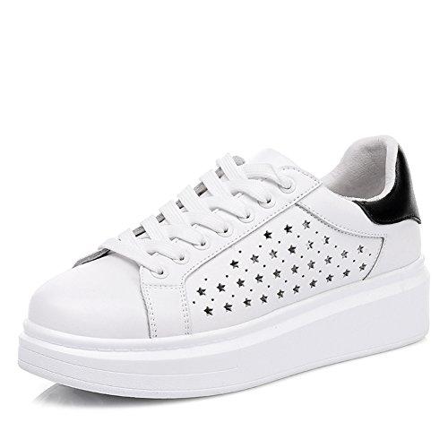 La Versión Coreana De Los Zapatos De Cuero Blanco Pequeño En La Primavera,Mujer Zapatos Suela Gruesa,Plano Casual Zapatos,Zapatos Deportivos B