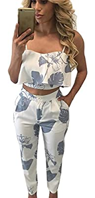 FANCYINN Women 2 Pieces Jumpsuit Romper Crop Top + Long Pants Casual Style
