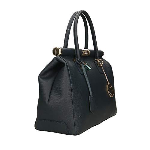 Chicca A Scuro Mano Cm Blu Borse Made In Italy 35x28x16 Bag Pelle Borsa a7nrcaUB