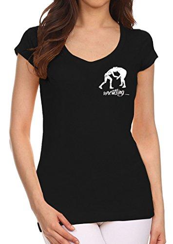 Junior's MMA Wrestling Emblem Black V-Neck T-Shirt X-Large Black by Interstate Apparel Inc
