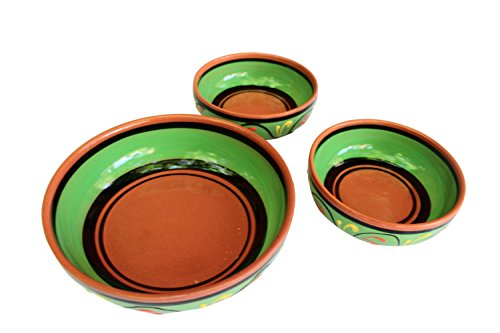 Terracotta Festive Set of 3 - Green - Hand Painted In Spain by Cactus Canyon Ceramics