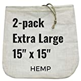 "2 Extra-Large Nut Milk Bags - 15"" x 15"" - All Natural Organic Cotton or Hemp Reusable Food Strainer for Yogurt, Cheese, Nut Milks, Tea, Coffee & More - 100% Eco-Friendly (Hemp)"