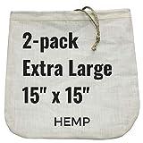 2 Extra-Large Nut Milk Bags - 15' x 15' - All Natural Hemp Reusable Food Strainer for Yogurt, Cheese, Nut Milks, Tea, Coffee & More - 100% Eco-Friendly (hemp)
