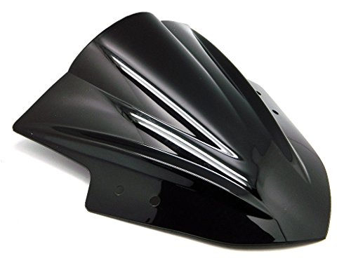 9sparts Black | Clear | Smoke Double Bubble ABS Plastic Injection Windscreen Windshield For 2013 2014 2015 2016 2017 Kawasaki Ninja 300 EX300 300R (Black) by 9sparts
