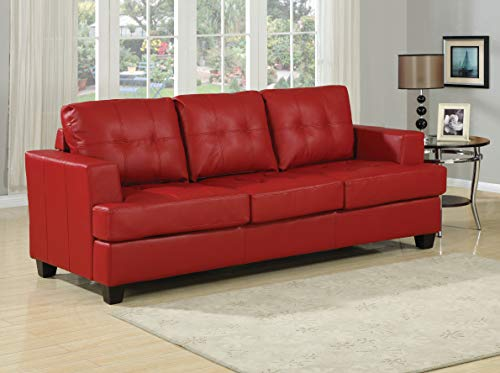 (ACME AC-15063 Sofa w/Queen Sleeper, Red Bonded Leather)