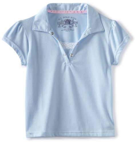 - U.S. Polo Assn. Little Girls' Polo Shirt (More Styles Available), Jersey Light Blue-ICZCK, 5/6