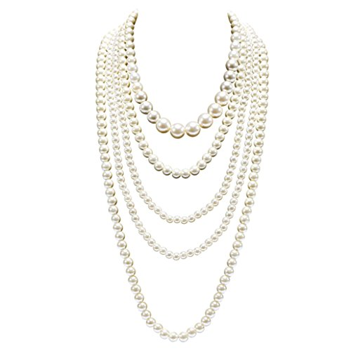 BABEYOND Vintage 1920s Gatsby Imitation Pearl Choker Necklace 20s Art Deco Flapper Accessories for Women White ()
