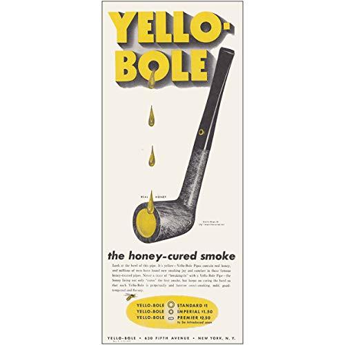 - 1943 Yello Bole Pipes: Honey Cured Smoke, Yello Bole Print Ad