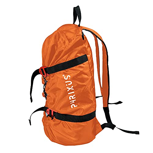 PHRIXUS Rock Climbing Rope Bag, Waterproof Folding Rope Storage Bag with Ground Sheet, Buckles and Carry Straps, Large Capacity Backpack Rock Climbing Gear for Rock Climbing Rope, Orange