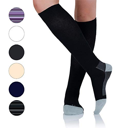AprilTex Cotton Compression Socks for Men & Women (1-4 Pack) Super Comfort, Easy to Wear Travel Stockings (17-22 mmHg) - for Nurses, Pregnancy, Medical, Running & Flight (Correct Weight Of Compression Stockings For Long Flights)