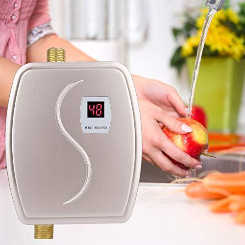 Calentador de Agua Instantaneo, Mini Calentador Electrico, 3000W Calentador de Agua Sin Tanque con LCD Pantalla, Calentador de Agua Portatil, Caliente Instantaneo para Cocina o Bano (Oro)