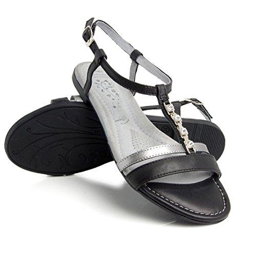 Fresh Batz Summer Nero Leather Donna 43 Sandali pOTgqwRHR