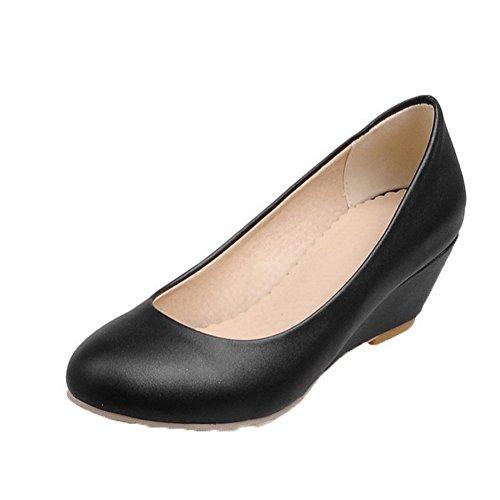 Heels On PU Schuhe Kitten Toe Frauen Pull Schwarz Solide VogueZone009 Pumps Round 68xBq