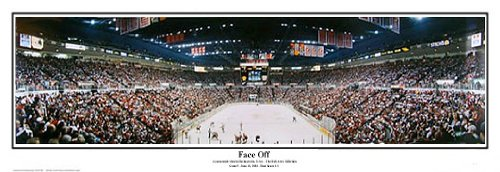 Detroit Redwings Face Off 97 Stanley Cup Game at Joe Louis Arena by Rob Arra Collection