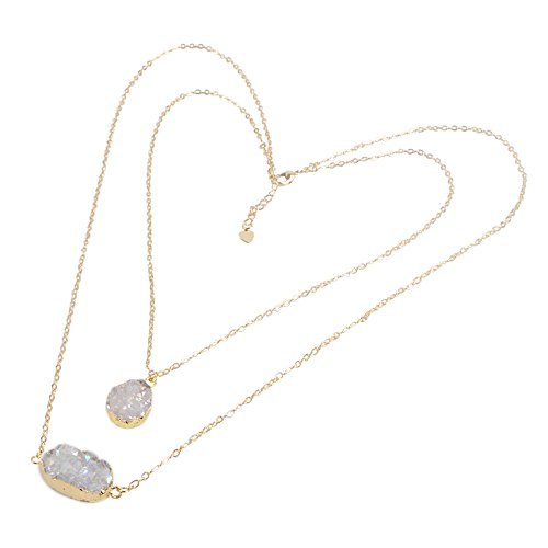 ZENGORI 1 Pcs Oval & Teardrop Gold Plated Natural Agate Titanium Druzy Necklace with Lobster Clasp AB Color G1287-1