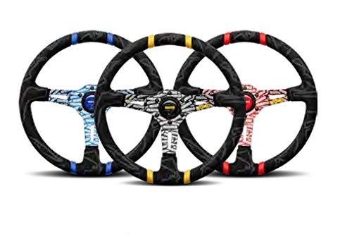 MOMO Street Steering Wheel - Ultra - Premium Race Track Microfiber Grip w/Red Dual Center Stripes and Red MOMO Etched Spokes - Part # ULT35BK0RD