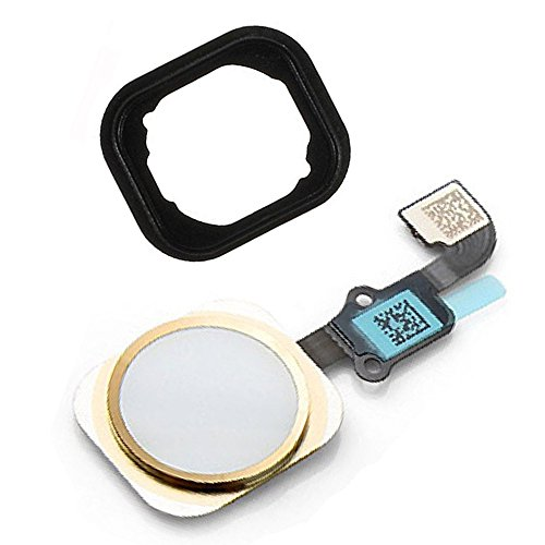 Johncase Home Button Flex Ribbon Cable Assembly w/Rubber Gasket Replacement Part Compatible iPhone 6 4.7/6 Plus 5.5 (Gold)