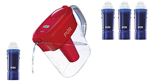 7 Cup Ultimate Water Filtration Pitcher with LED, Red with 4...