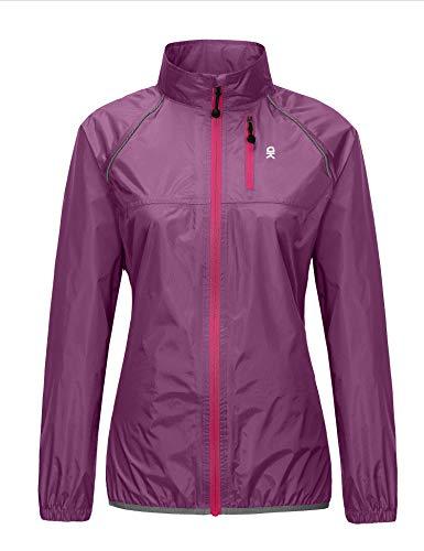 Little Donkey Andy Women's Waterproof Cycling Bike Jacket, Running Rain Jacket, Windbreaker, Ultralight and Packable Purple XL