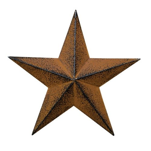 (CWI Gifts Barn Star Wall Decor, 12-Inch, Rust/Black)