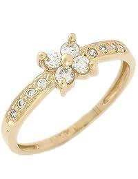 14k Yellow Gold White CZ Petite Sparkling Flower Ladies Everyday Ring