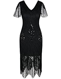 Women's 1920s Dress Sequin Art Deco Flapper Dress with Sleeve