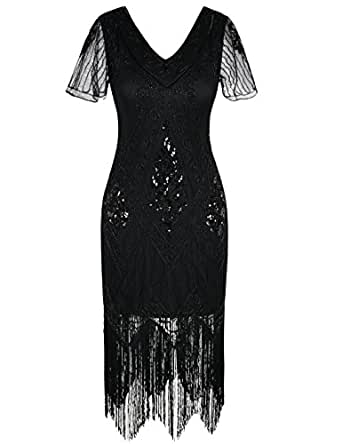 PrettyGuide Women's 1920s Dress Art Deco Sequin Fringe Flapper Dress with Sleeve S Black