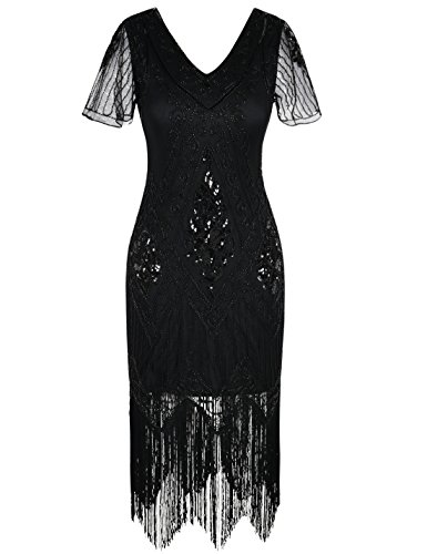 PrettyGuide Women's 1920s Dress Vintage Fringed Flapper Dress with Sleeve L Black ()