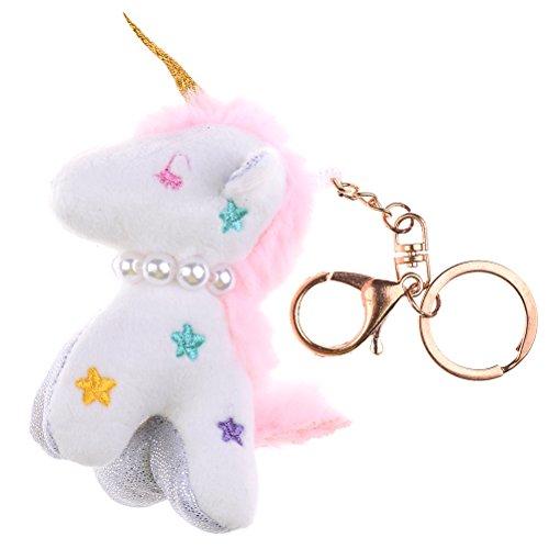 JUNKE Lucky Cute Soft Plush Unicorn Stuffed Animal Pendant Keychain Purse Bag Car Keys Keyring Hanging Charm Decor Accessory Best Toy (Charm Clip Keychain)