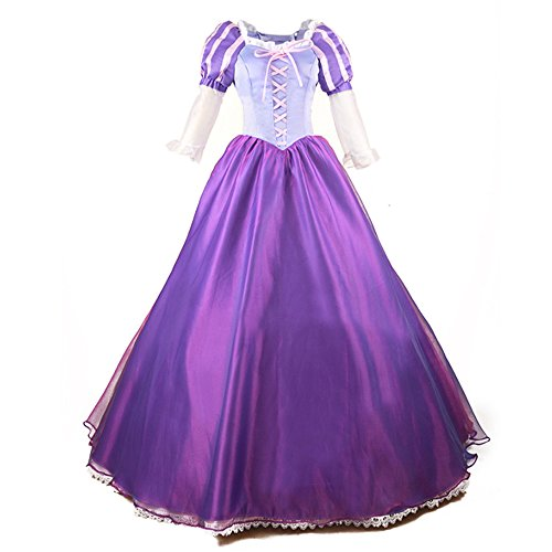 Princess Tangled Rapunzel Costume Women Adult Cosplay Dress Party Ball Gown (Medium, Purple) -