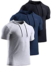 TSLA Men's 3 Pack Muscle Hoodie Shirts, Quick Dry Cool-Dri Short Sleeve Athletic Shirts, Active Sport Gym T-Shirts