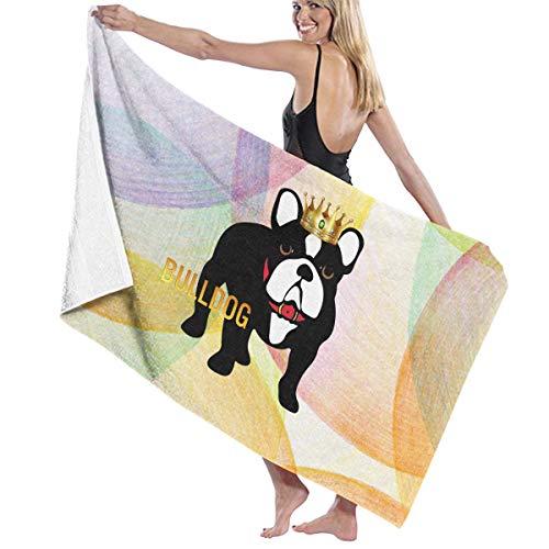 Camp Ursula Dog Bulldog Puppy Crown Animal Soft Super Water Absorbent Beach Shower Bath Towel by Camp Ursula