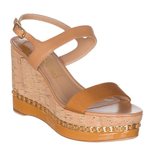 Salvatore Ferragamo Women's Mollie Chain-Trim Platform Wedge Sandals Shoes, 8.5, Beige ()